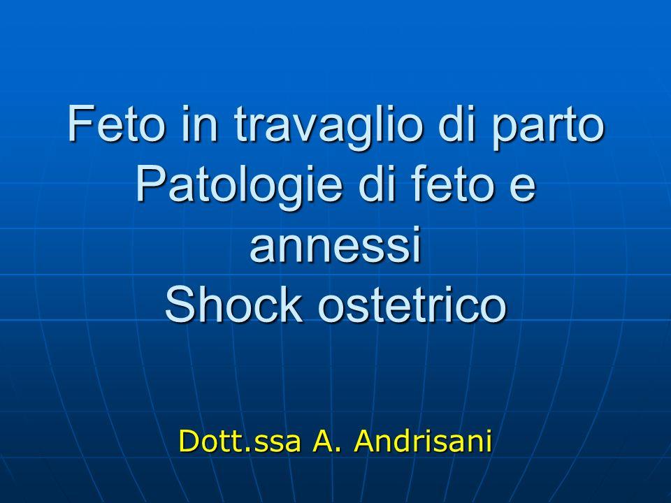 Feto in travaglio di parto Patologie di feto e annessi Shock ostetrico