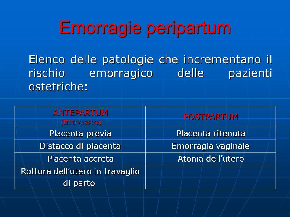 Emorragie peripartum Elenco delle patologie che incrementano il rischio emorragico delle pazienti ostetriche: