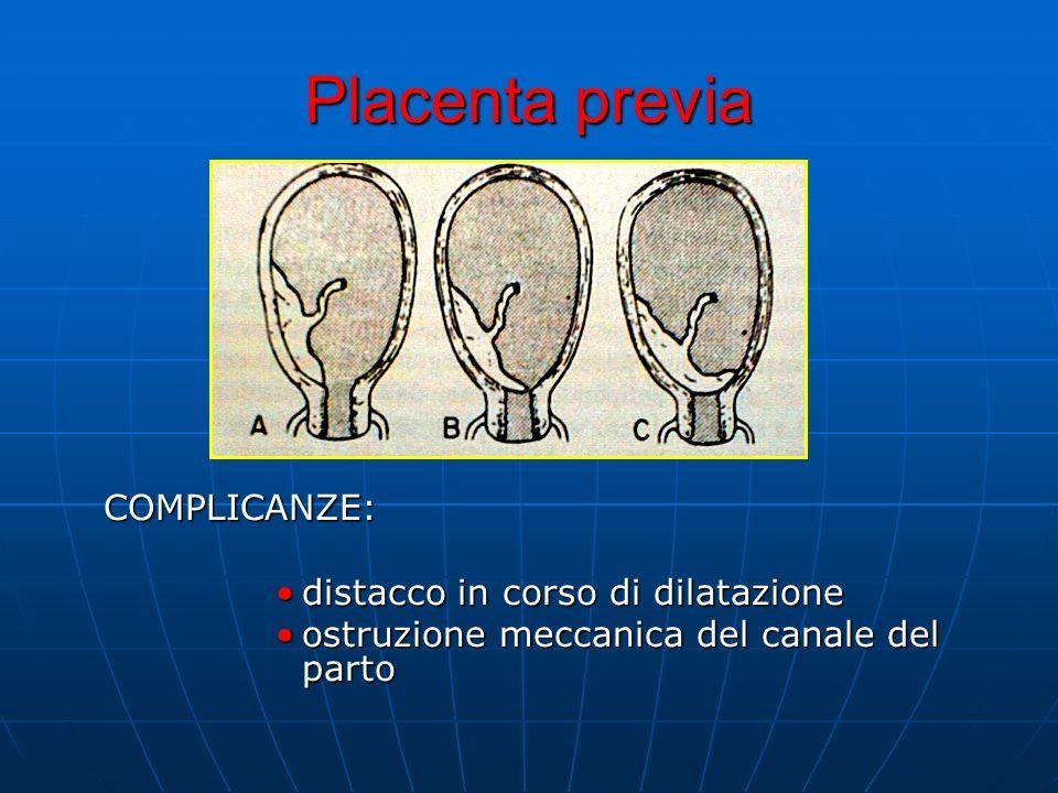 Placenta previa COMPLICANZE: distacco in corso di dilatazione