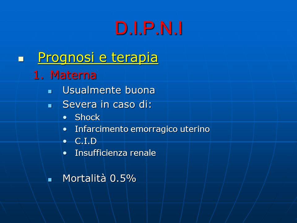 D.I.P.N.I Prognosi e terapia Materna Usualmente buona