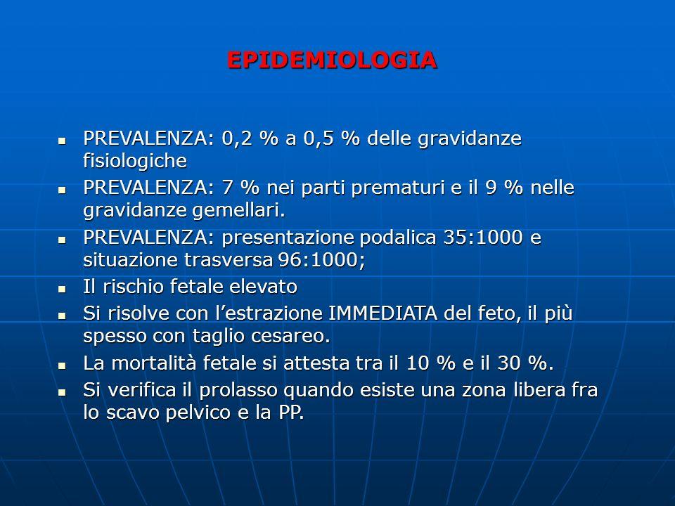 EPIDEMIOLOGIA PREVALENZA: 0,2 % a 0,5 % delle gravidanze fisiologiche