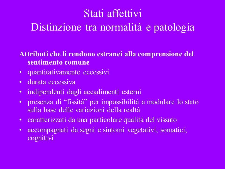Stati affettivi Distinzione tra normalità e patologia