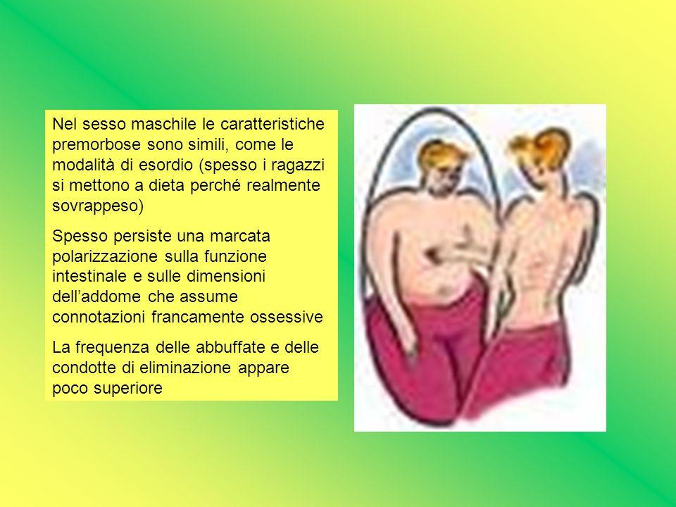 Nel sesso maschile le caratteristiche premorbose sono simili, come le modalità di esordio (spesso i ragazzi si mettono a dieta perché realmente sovrappeso)