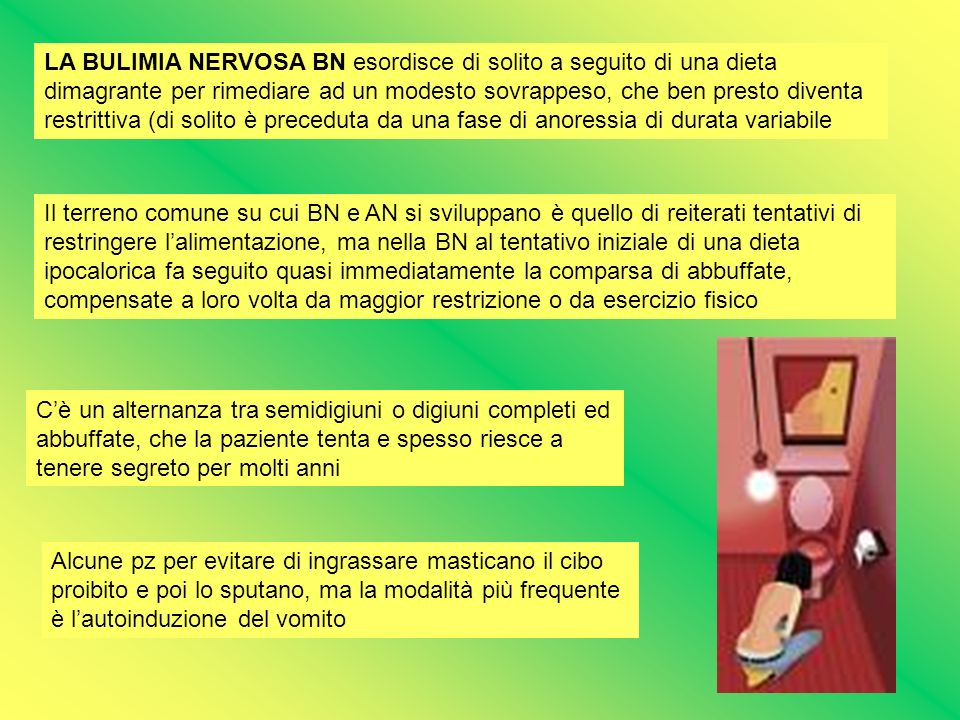 LA BULIMIA NERVOSA BN esordisce di solito a seguito di una dieta dimagrante per rimediare ad un modesto sovrappeso, che ben presto diventa restrittiva (di solito è preceduta da una fase di anoressia di durata variabile