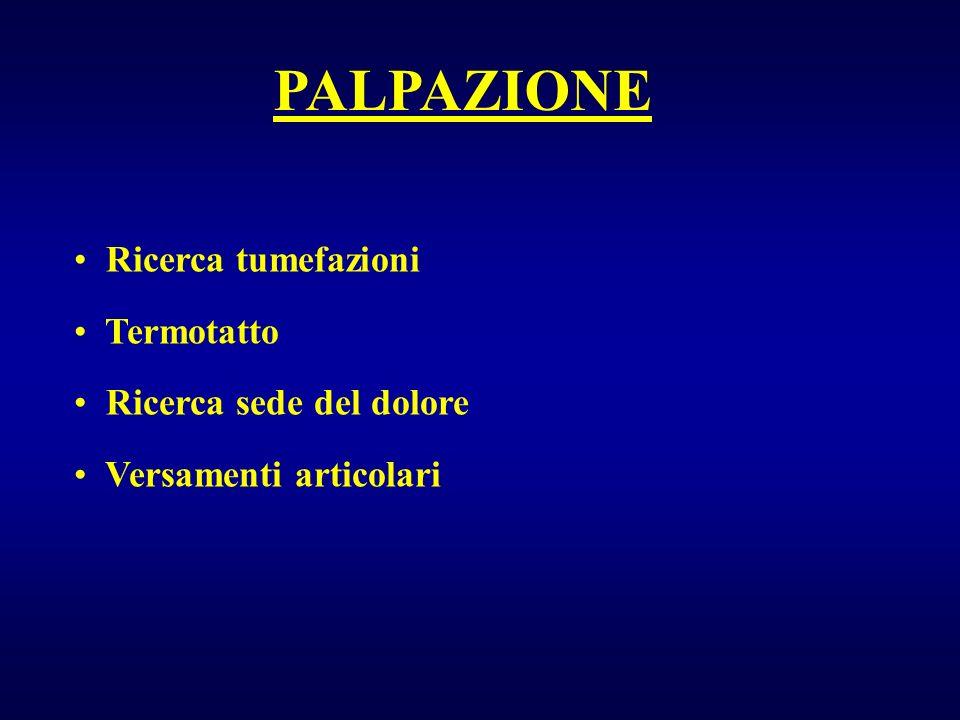 PALPAZIONE Ricerca tumefazioni Termotatto Ricerca sede del dolore