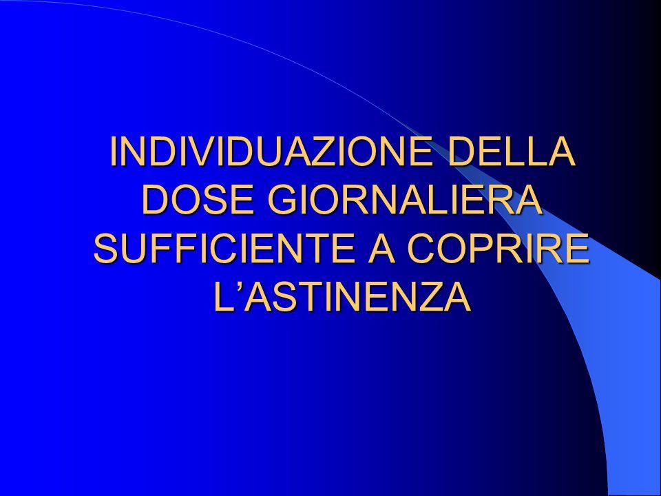 INDIVIDUAZIONE DELLA DOSE GIORNALIERA SUFFICIENTE A COPRIRE L'ASTINENZA