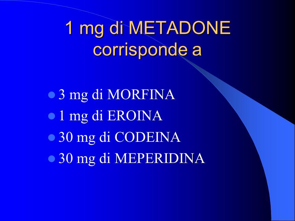 1 mg di METADONE corrisponde a