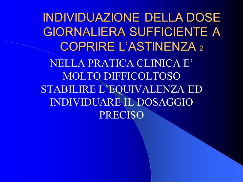 INDIVIDUAZIONE DELLA DOSE GIORNALIERA SUFFICIENTE A COPRIRE L'ASTINENZA 2