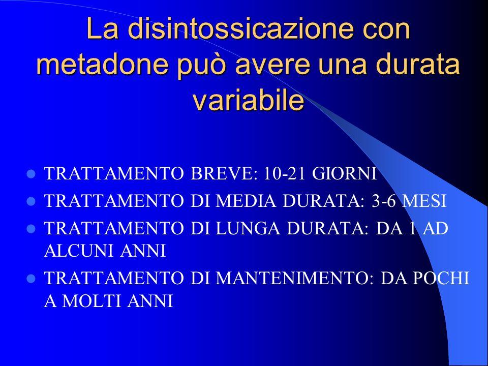 La disintossicazione con metadone può avere una durata variabile
