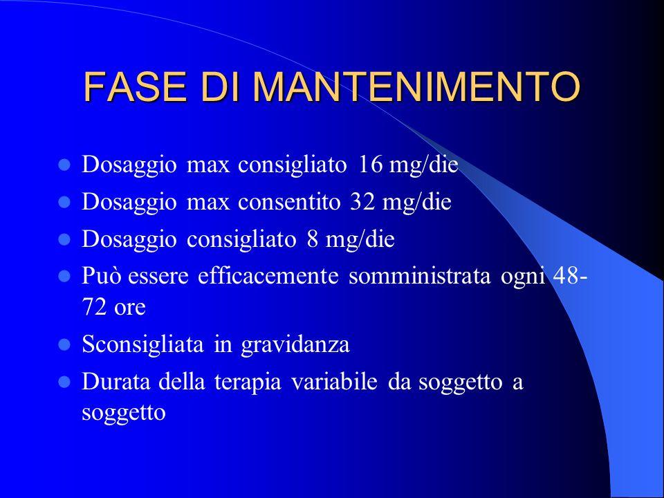 FASE DI MANTENIMENTO Dosaggio max consigliato 16 mg/die