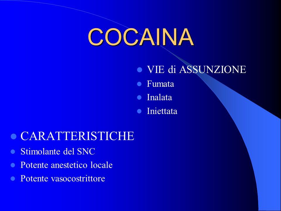 COCAINA CARATTERISTICHE VIE di ASSUNZIONE Fumata Inalata Iniettata