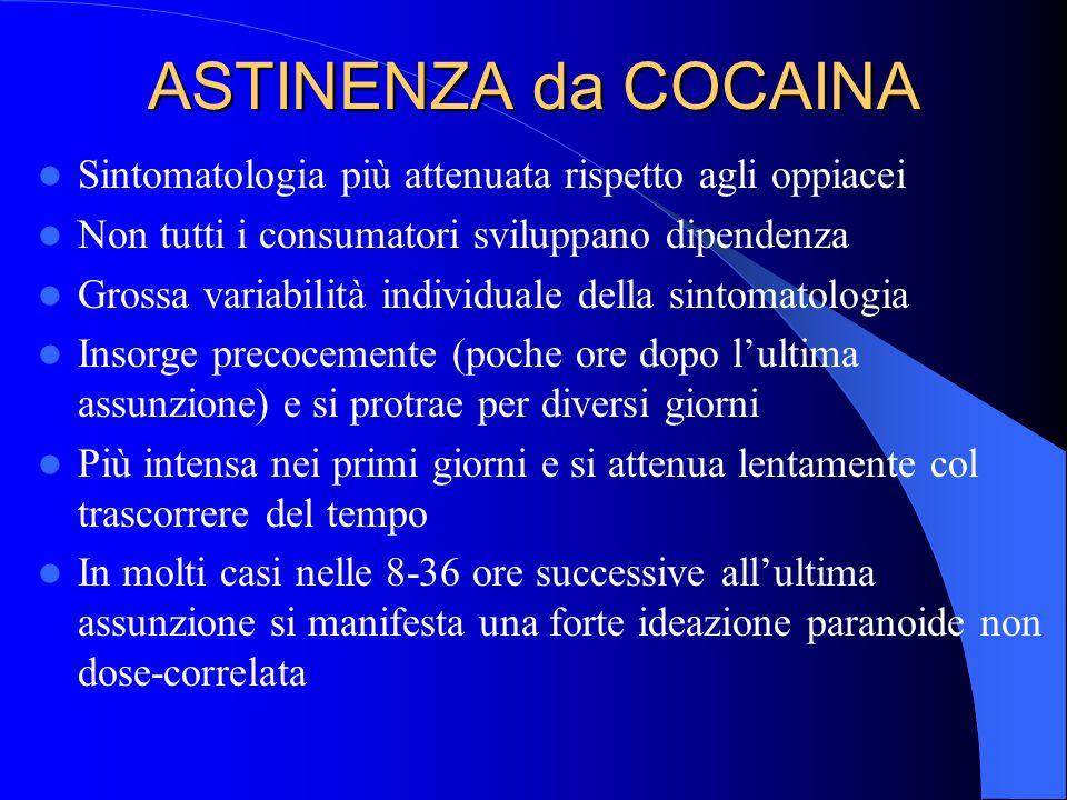 ASTINENZA da COCAINA Sintomatologia più attenuata rispetto agli oppiacei. Non tutti i consumatori sviluppano dipendenza.