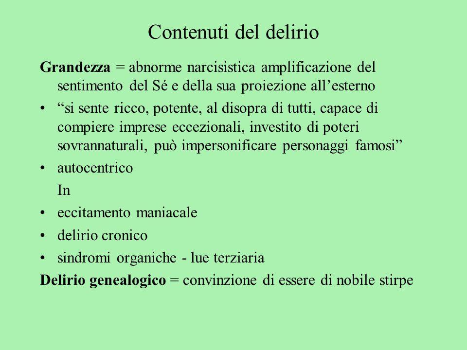 Contenuti del delirio Grandezza = abnorme narcisistica amplificazione del sentimento del Sé e della sua proiezione all'esterno.