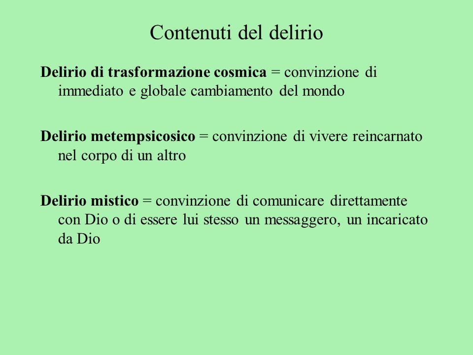 Contenuti del delirio Delirio di trasformazione cosmica = convinzione di immediato e globale cambiamento del mondo.