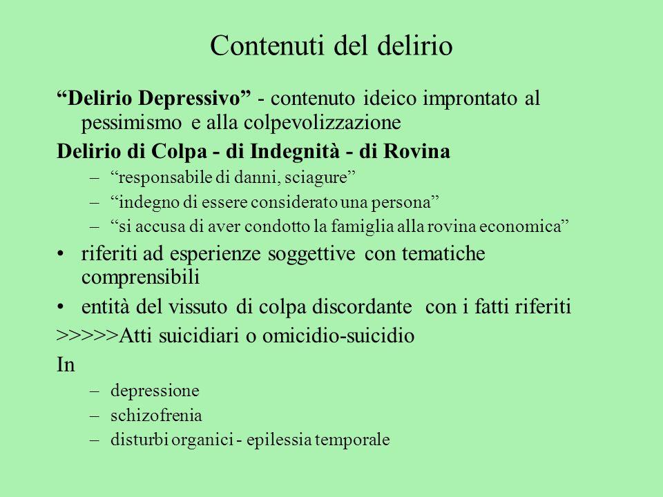 Contenuti del delirio Delirio Depressivo - contenuto ideico improntato al pessimismo e alla colpevolizzazione.