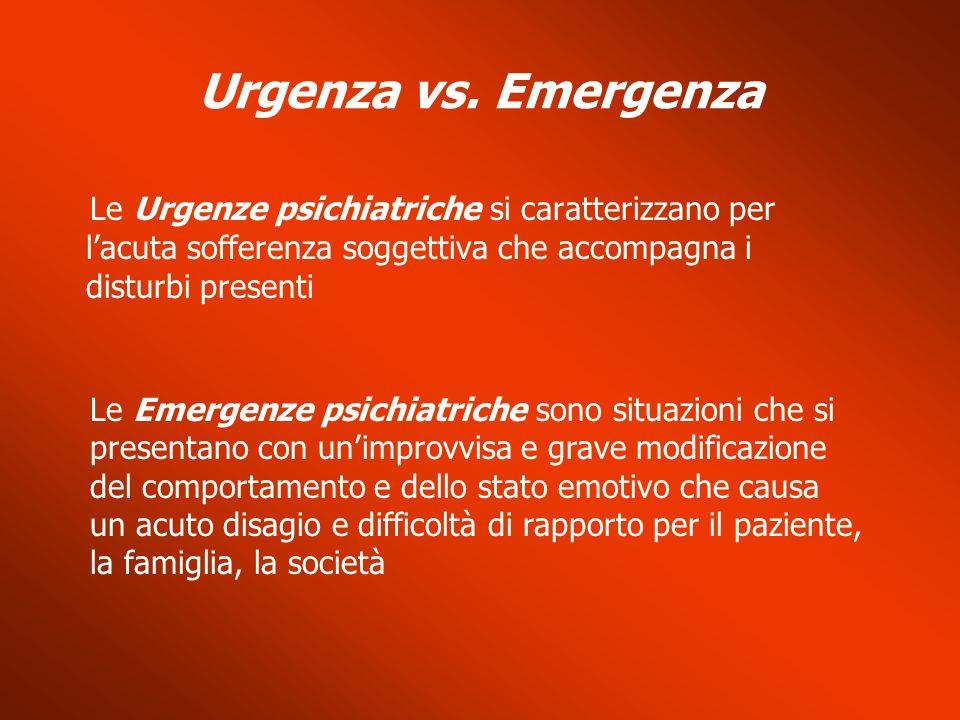 Urgenza vs. Emergenza Le Urgenze psichiatriche si caratterizzano per l'acuta sofferenza soggettiva che accompagna i disturbi presenti.