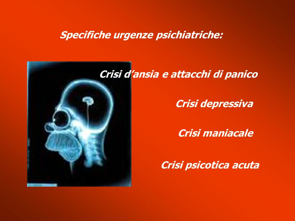 Specifiche urgenze psichiatriche: