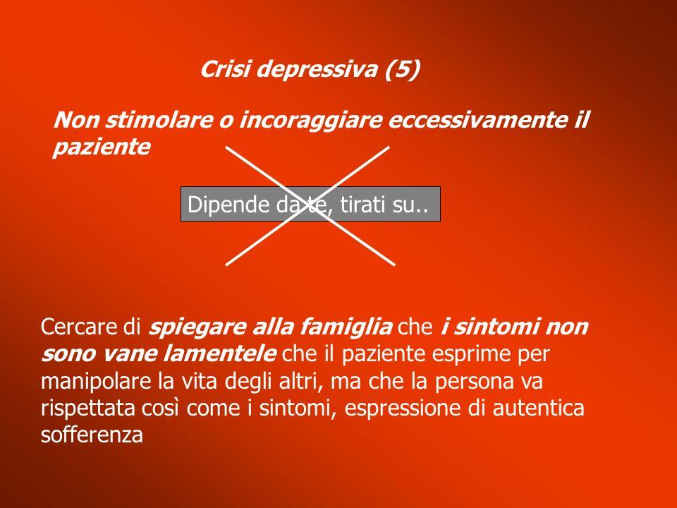 Crisi depressiva (5) Non stimolare o incoraggiare eccessivamente il paziente. Dipende da te, tirati su..