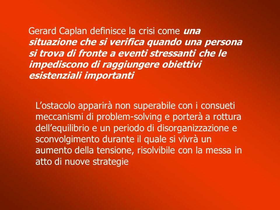 Gerard Caplan definisce la crisi come una situazione che si verifica quando una persona si trova di fronte a eventi stressanti che le impediscono di raggiungere obiettivi esistenziali importanti