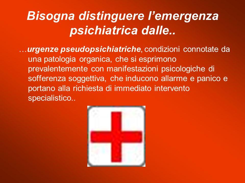Bisogna distinguere l'emergenza psichiatrica dalle..