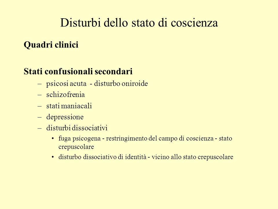Disturbi dello stato di coscienza