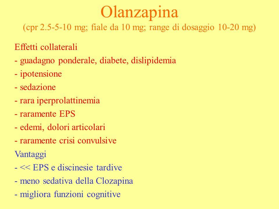 Olanzapina (cpr 2.5-5-10 mg; fiale da 10 mg; range di dosaggio 10-20 mg)