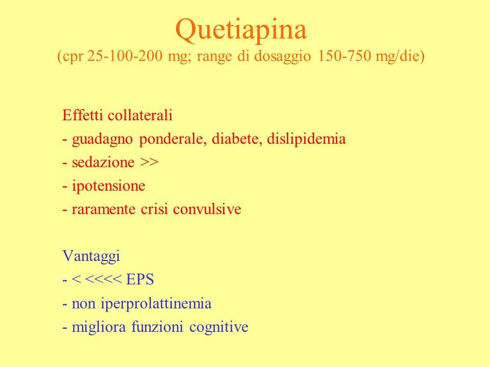 Quetiapina (cpr 25-100-200 mg; range di dosaggio 150-750 mg/die)