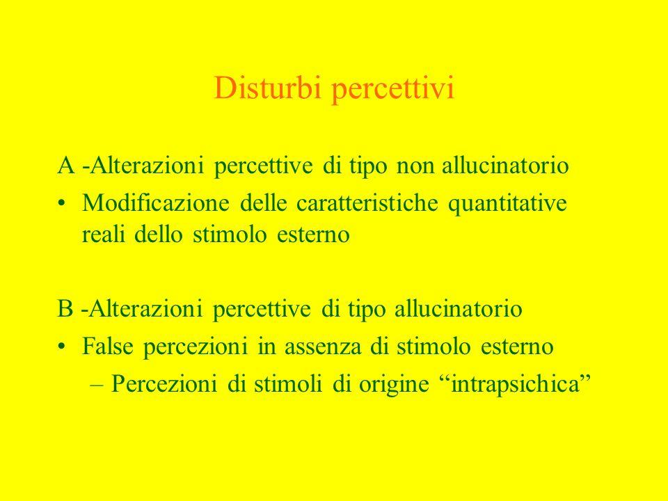 Disturbi percettiviA -Alterazioni percettive di tipo non allucinatorio. Modificazione delle caratteristiche quantitative reali dello stimolo esterno.