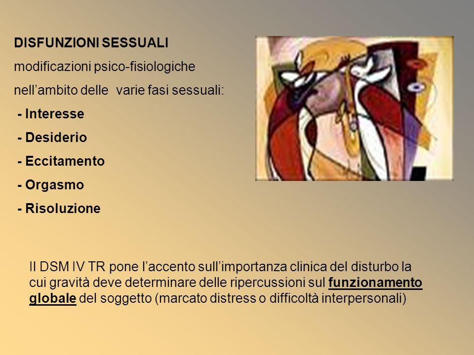 DISFUNZIONI SESSUALI modificazioni psico-fisiologiche. nell'ambito delle varie fasi sessuali: - Interesse.