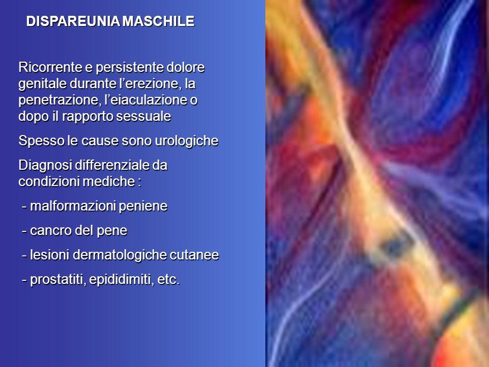 DISPAREUNIA MASCHILE Ricorrente e persistente dolore genitale durante l'erezione, la penetrazione, l'eiaculazione o dopo il rapporto sessuale.
