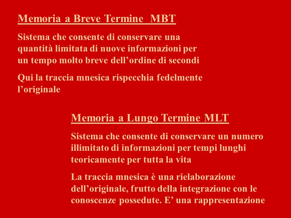 Memoria a Breve Termine MBT