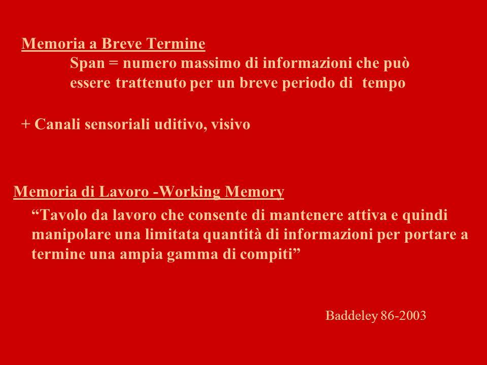 Memoria di Lavoro -Working Memory