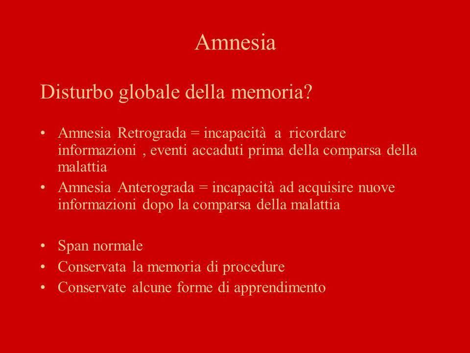 Amnesia Disturbo globale della memoria