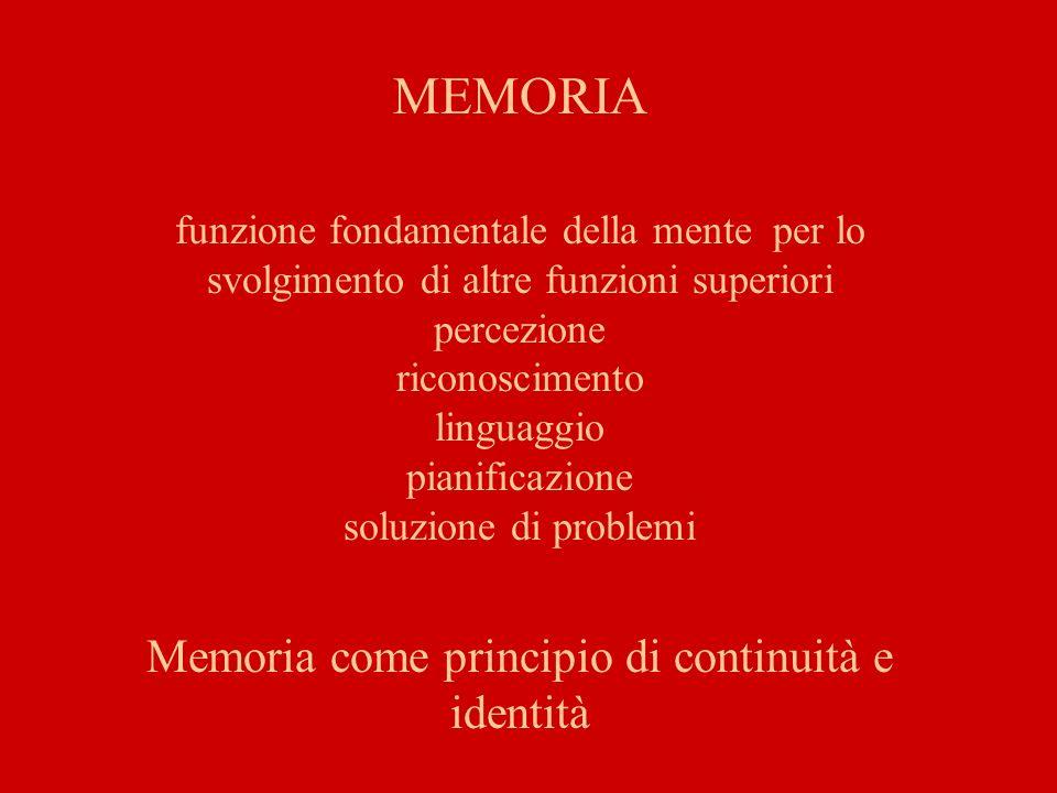 MEMORIA funzione fondamentale della mente per lo svolgimento di altre funzioni superiori percezione riconoscimento linguaggio pianificazione soluzione di problemi Memoria come principio di continuità e identità
