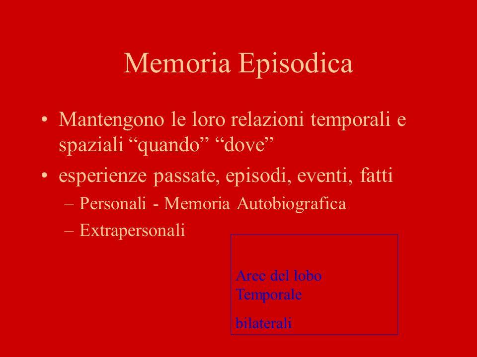 Memoria EpisodicaMantengono le loro relazioni temporali e spaziali quando dove esperienze passate, episodi, eventi, fatti.