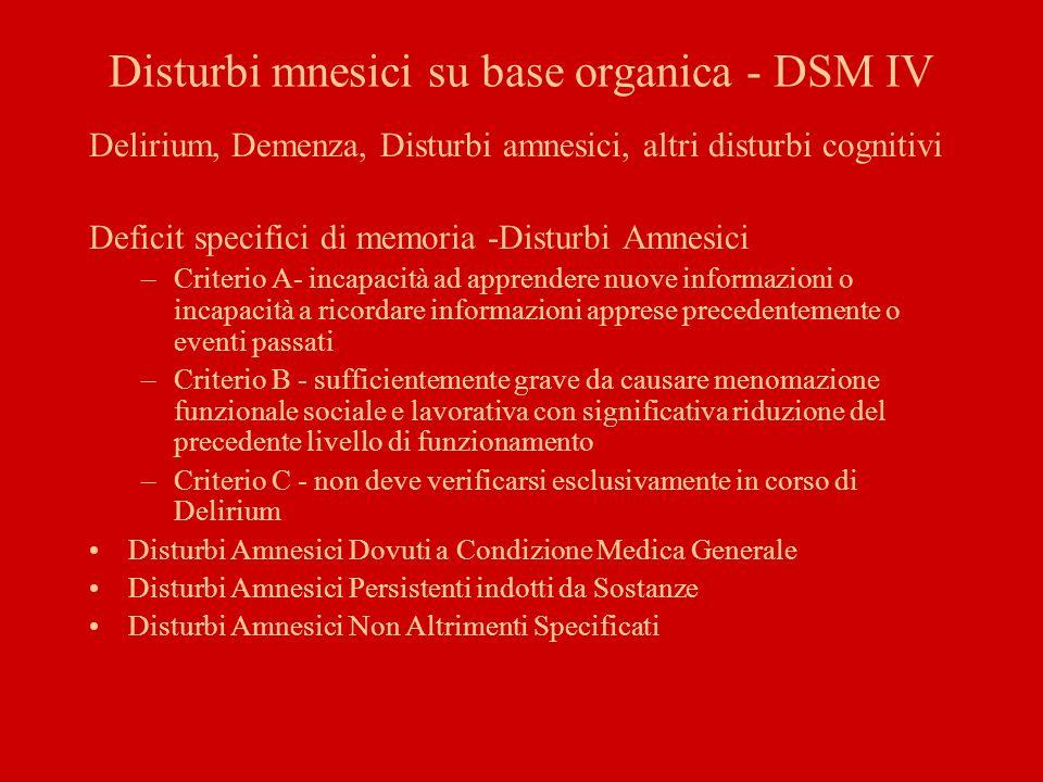 Disturbi mnesici su base organica - DSM IV