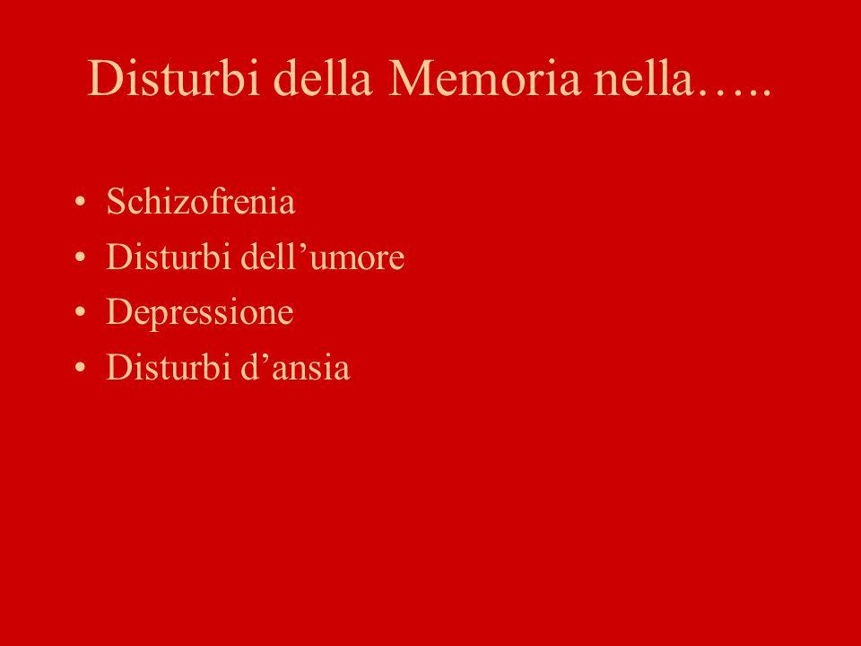 Disturbi della Memoria nella…..
