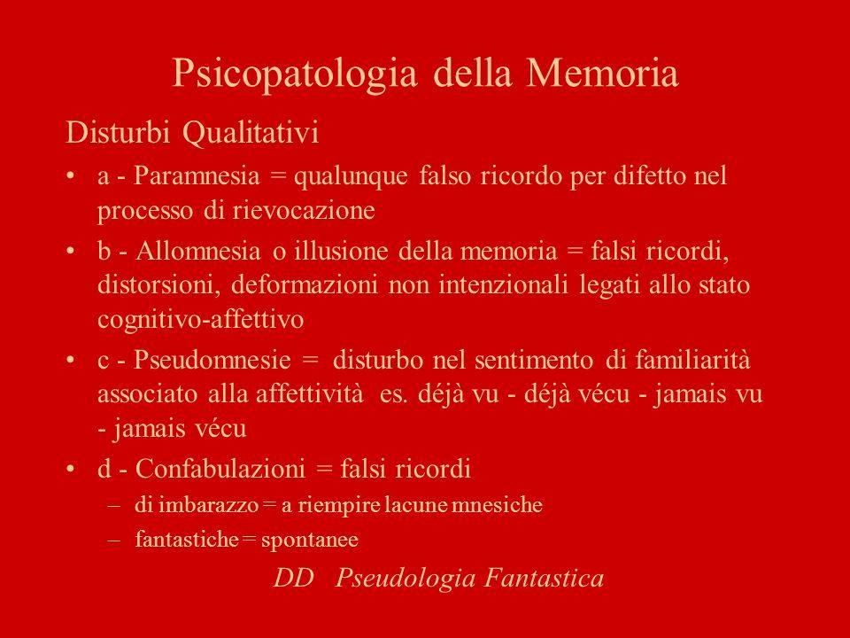Psicopatologia della Memoria