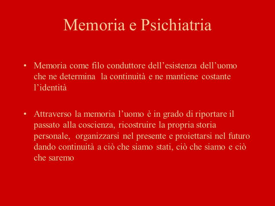 Memoria e Psichiatria Memoria come filo conduttore dell'esistenza dell'uomo che ne determina la continuità e ne mantiene costante l'identità.