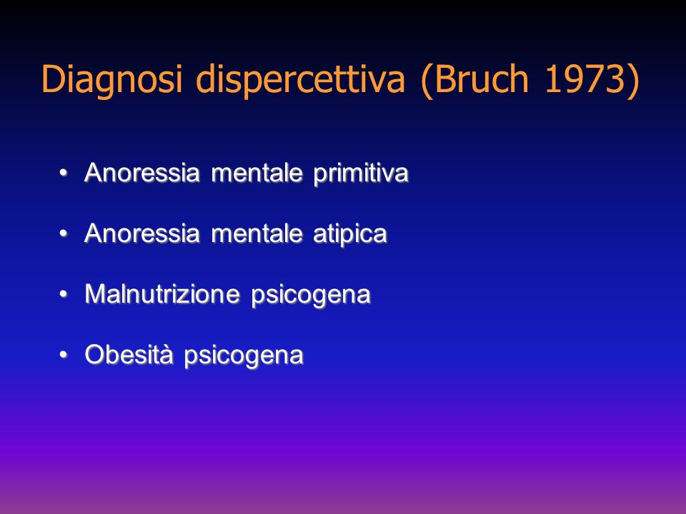 Diagnosi dispercettiva (Bruch 1973)