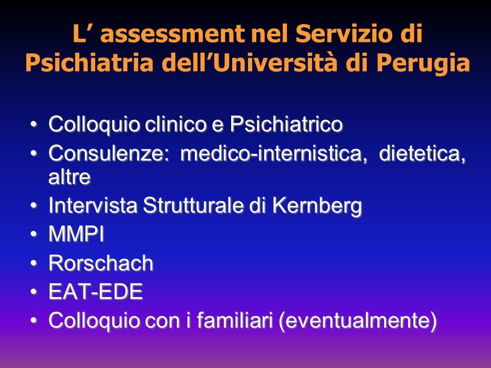 L' assessment nel Servizio di Psichiatria dell'Università di Perugia