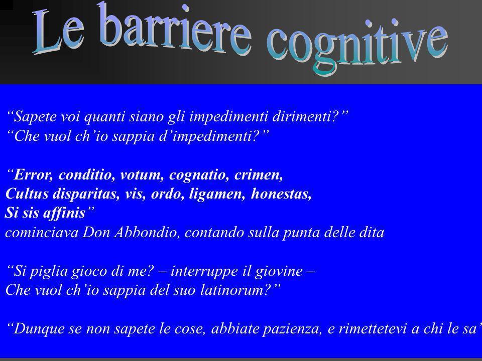 Le barriere cognitive Sapete voi quanti siano gli impedimenti dirimenti Che vuol ch'io sappia d'impedimenti