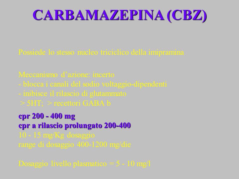 CARBAMAZEPINA (CBZ) Possiede lo stesso nucleo triciclico della imipramina. Meccanismo d'azione: incerto.