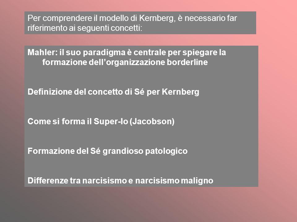Per comprendere il modello di Kernberg, è necessario far riferimento ai seguenti concetti: