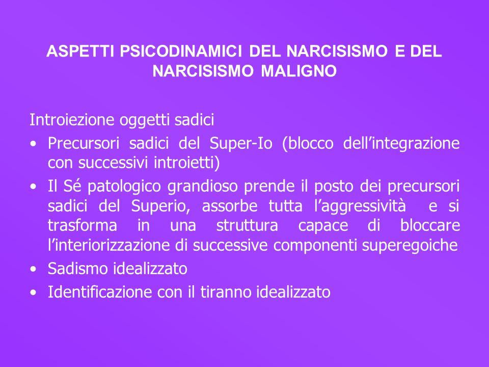 ASPETTI PSICODINAMICI DEL NARCISISMO E DEL NARCISISMO MALIGNO