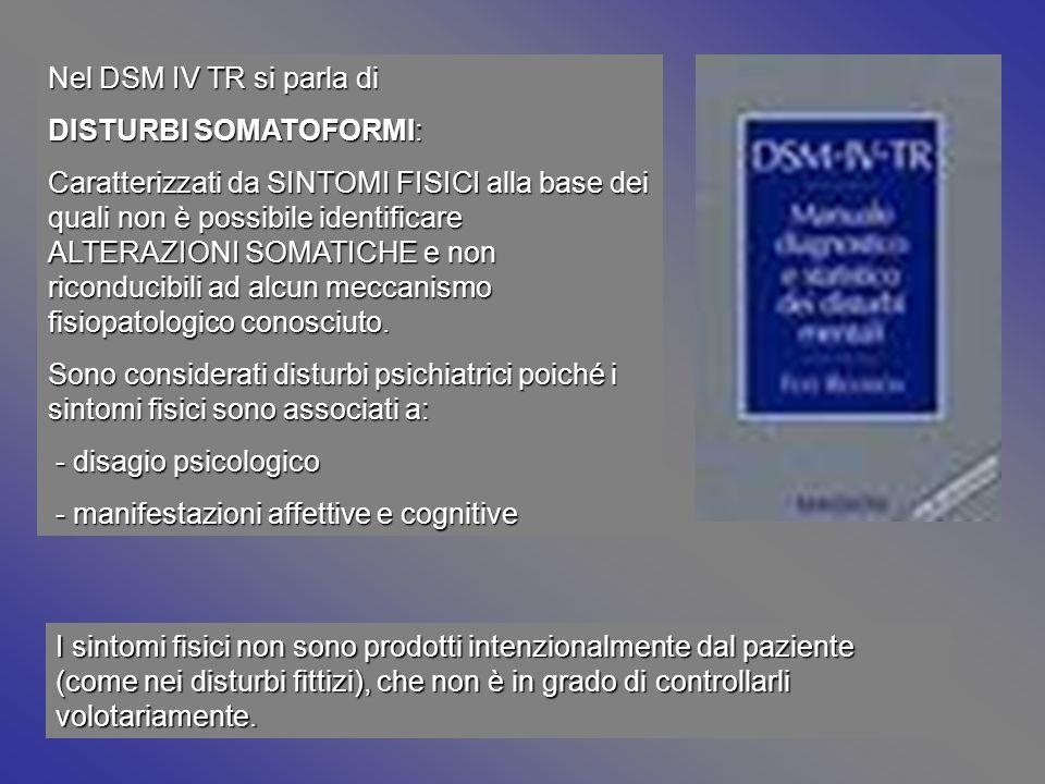 Nel DSM IV TR si parla di DISTURBI SOMATOFORMI: