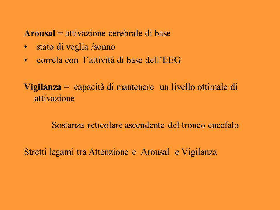 Arousal = attivazione cerebrale di base