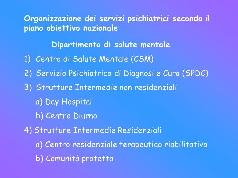 Organizzazione dei servizi psichiatrici secondo il piano obiettivo nazionale