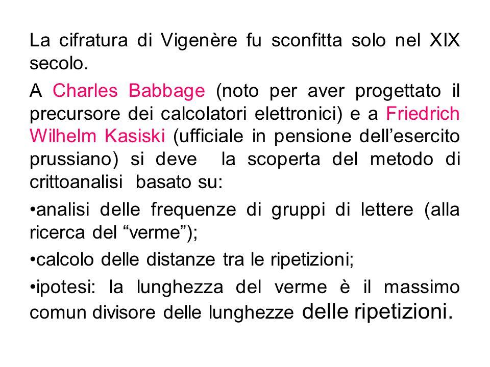 La cifratura di Vigenère fu sconfitta solo nel XIX secolo.