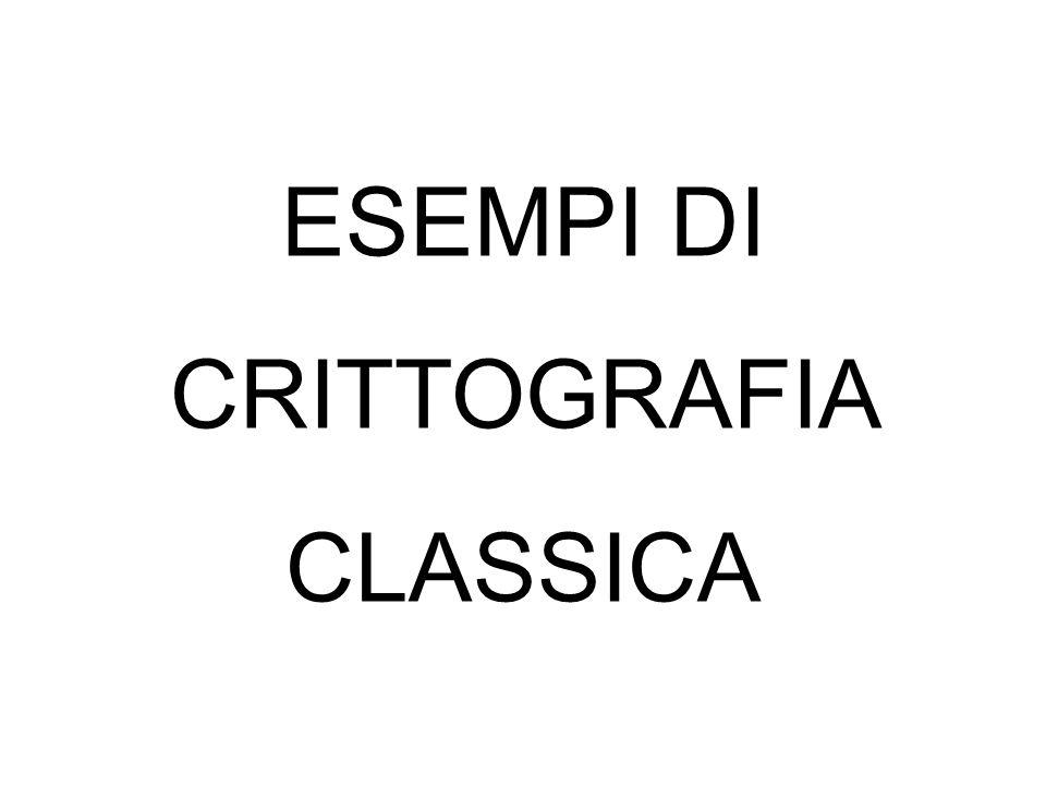 ESEMPI DI CRITTOGRAFIA CLASSICA